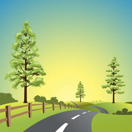 A Country Landscape with Road and Trees Stock Vector - 9720830