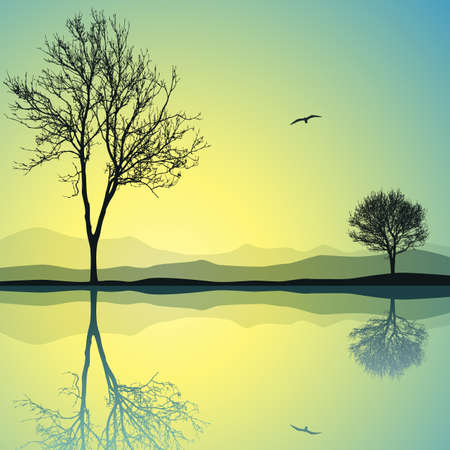 A Vector Landscape with Two Trees and Reflection in Water Vector