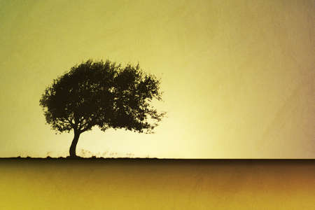 lone: An Artistic Vintage Grunge Landscape with a Lone Tree