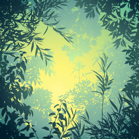 rainforest tree: A Floral Background with Trees and Leaves