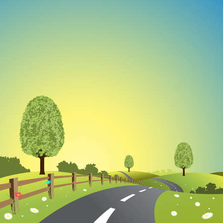 A Country Landscape with Road and Trees Stock Vector - 10291213