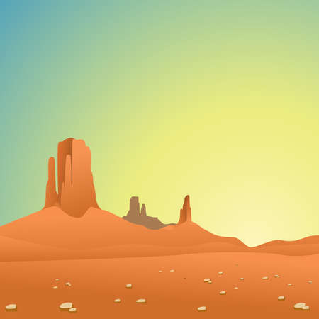 desert sunset: A Desert Landscape with Mountains and Blue Sky Illustration