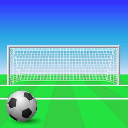 soccer pitch: A Soccer Goal with Ball Illustration