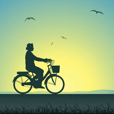 pedaling: A Woman on a Bicycle in Silhouette Illustration
