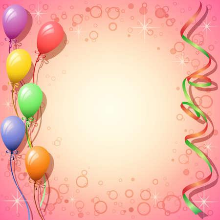 globos de cumplea�os: Parte de fondo con globos y serpentinas Vectores