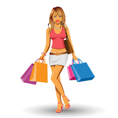 sexy girls: A Pretty Girl Shopping with Bags Illustration