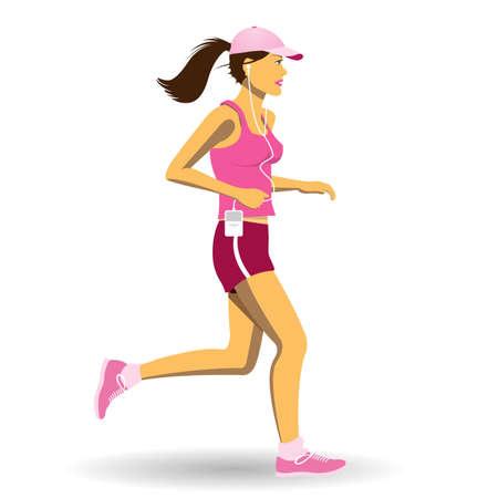 Een mooie vrouw, joggen, lopen Stock Illustratie