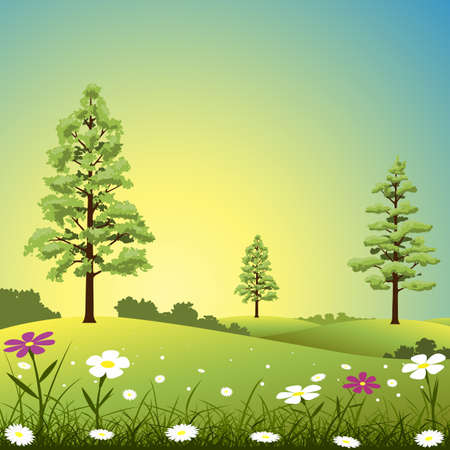 A Country Landscape with Trees and Flowers Vector