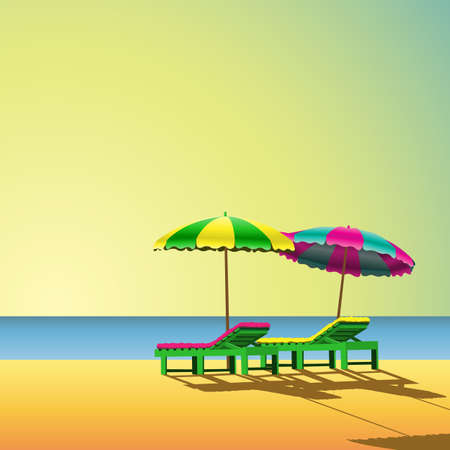 sea bed: Two Sunloungers and Parasols on a Beach