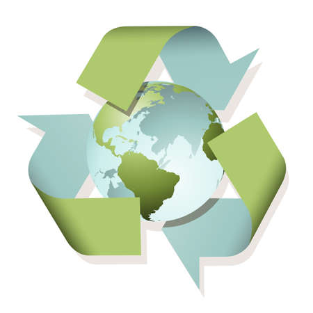 A Recycle Sign with Planet Earth Vector