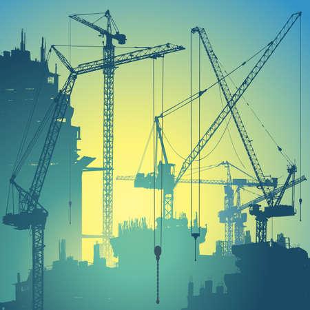 construct: Veel van torenkranen op de Bouwplaats Stock Illustratie