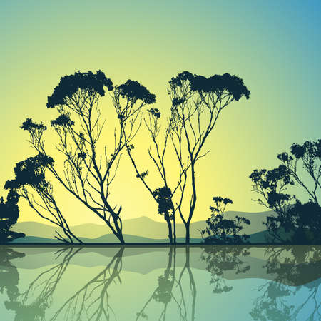 Trees Silhouette with Reflection in Water Illustration