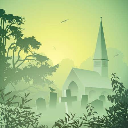 tombes: Un paysage brumeux avec l'�glise et cimeti�re