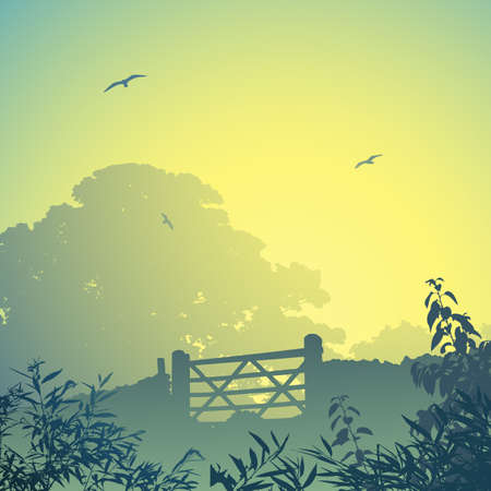 A Country Landscape with Gate and Wall Vector