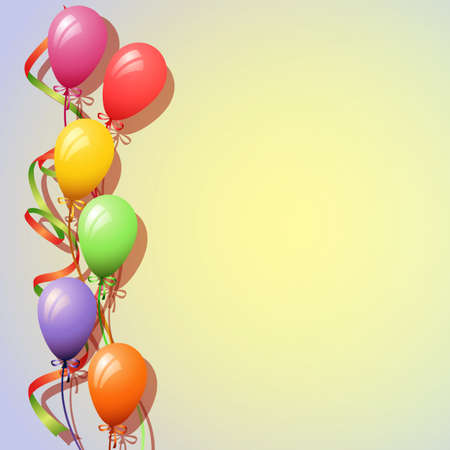 party streamers: A Balloons Background with Streamers