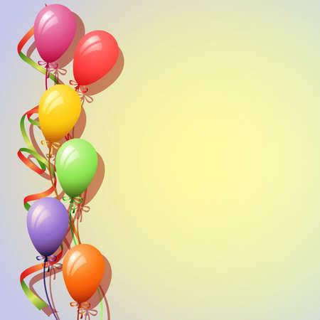 Een Ballonnen Achtergrond met Streamers Stock Illustratie