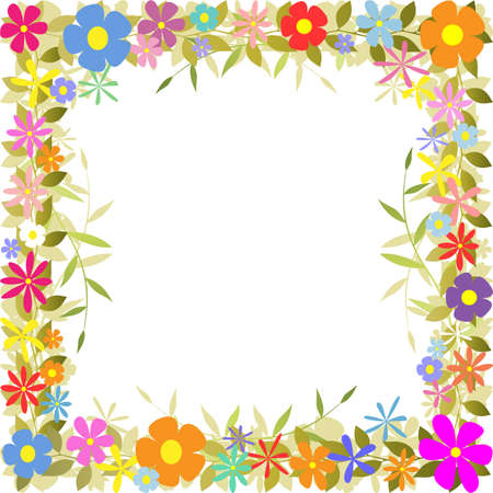 flower border: A Floral Border with Flowers and Leaves