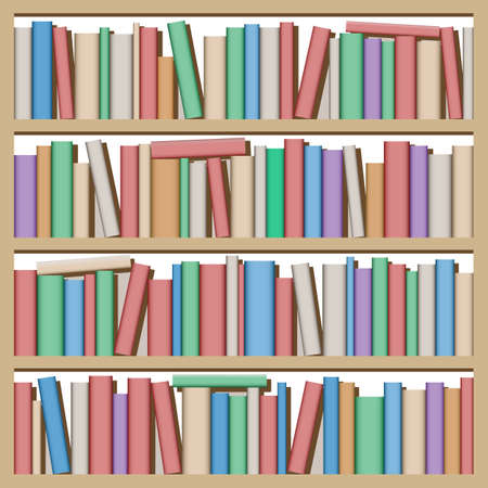 lots: Lots of Books on Shelf Illustration
