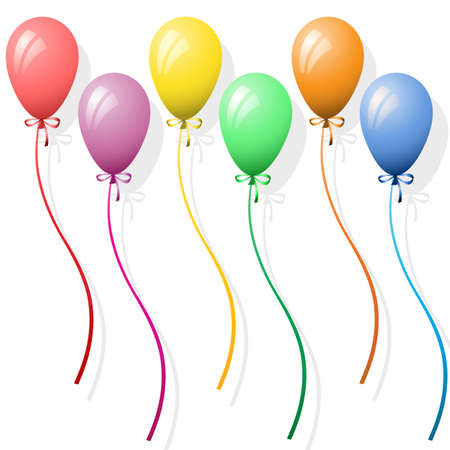 birthday balloons: Six Party Balloons on White Background
