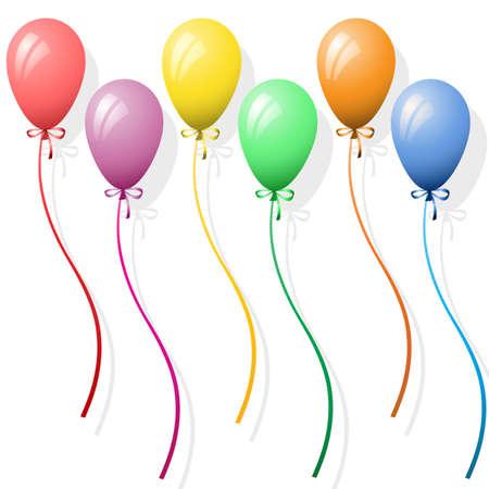 verjaardag ballonen: Zes Party Ballonnen op een witte achtergrond