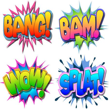 A Selection of Comic Book Illustrations Bang Bam Wow Splat Illustration