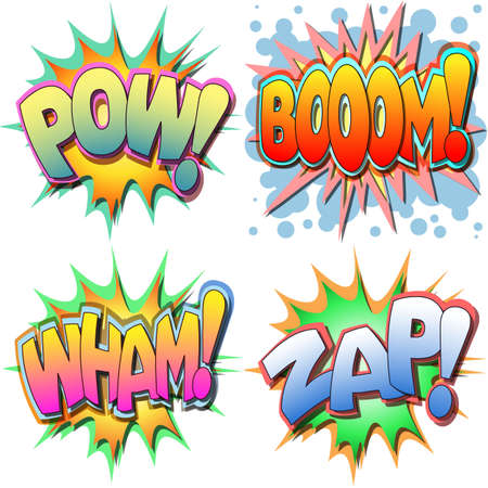 comic book: A Selection of Comic Book Illustrations Pow, Boom, Wham, Zap