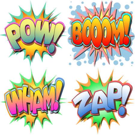 Een selectie van Comic boekillustraties Pow, Boom, Wham, Zap Stock Illustratie