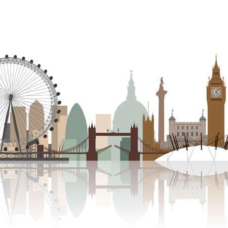 水の反射を持つロンドンの街並み  イラスト・ベクター素材