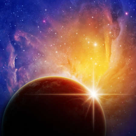 A Space Background with Planet and Stars Stock Photo - 10929817