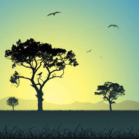 A Country Weide Landschap met bomen en vogels Stock Illustratie