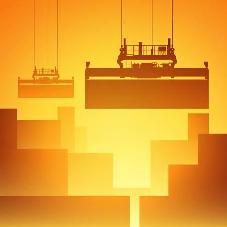 Een Vector Illustratie van Freight Containers in de haven met kraan