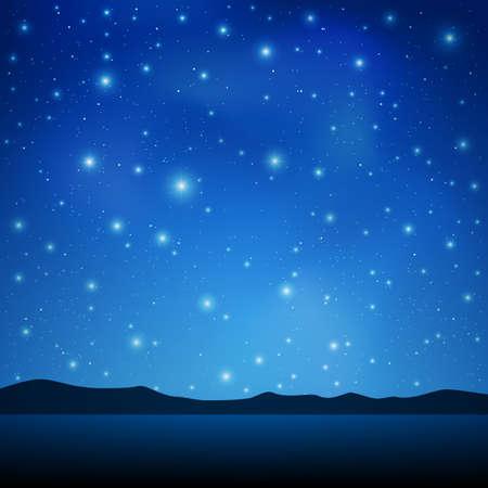 Een Blue Night Sky met veel sterren Stock Illustratie