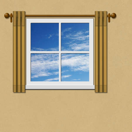 window pane: A Window with Curtains - Drapes and Blue Sky