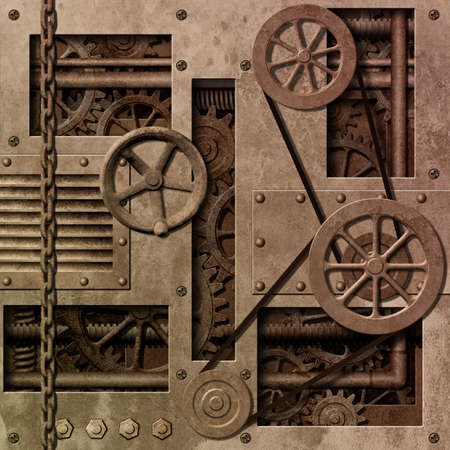 carrucole: Sfondo meccanica industriale con ingranaggi e pulegge Archivio Fotografico