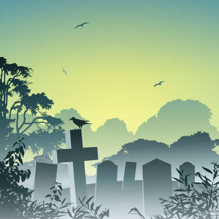 misty: A Misty Graveyard, Cemetery with Tombstones and Crow  Illustration