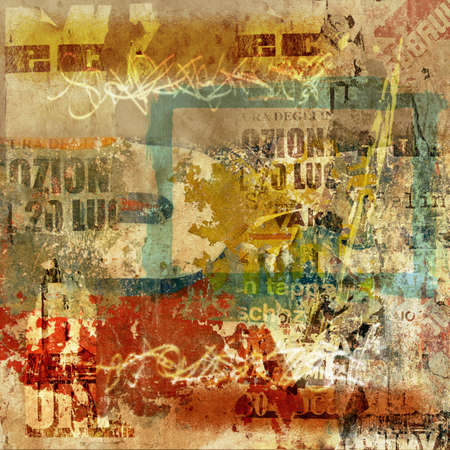 Grunge Wall Background with Old Torn Posters and Graffiti photo