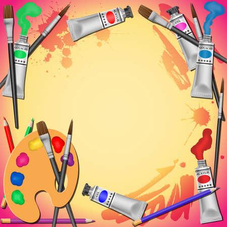 grens: Een Border Achtergrond Vector Illustratie met verftubes, penselen en potloden