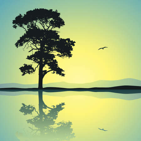sunset lake: A Single Tree Standing Alone with Reflection in Water Illustration