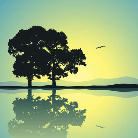 Two Trees Standing Alone with Reflection in Water Stock Vector - 12349937