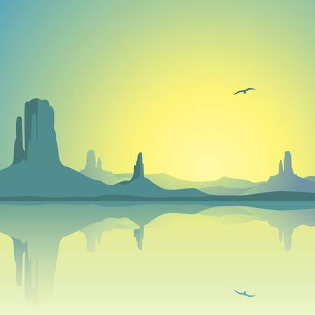 A Desert Landscape with Mountains and Reflection in Water Stock Vector - 12349938