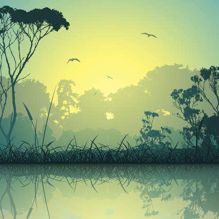 A Country Weide landschap met bomen en reflectie in het water Stock Illustratie