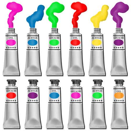 guache: Una selecci�n de tubos de pintura