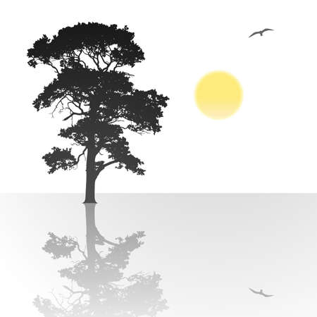 A Single Tree Standing Alone with Reflection in Water Stock Vector - 12773182