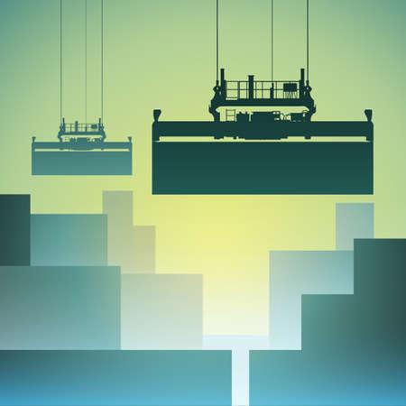 Freight Containers in de haven met kraan