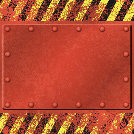 A Red Rusty Grunge Metal Background with Rivets Vector