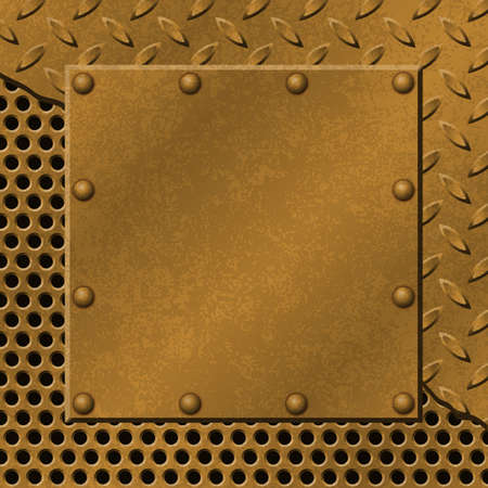 A Rusty Metal Background with Tread Plate, Mesh and Rivets Vector
