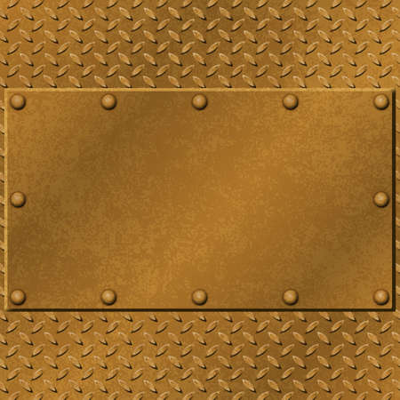 A Rusty Metal Background with Tread Plate and Rivets Vector