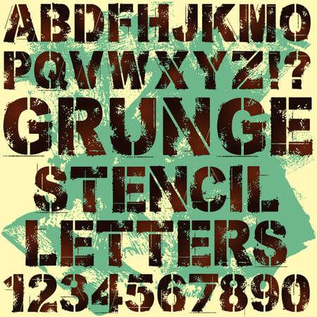 abecedario graffiti: Un conjunto de cartas del Grunge Stencil