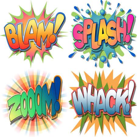 Een selectie van Comic Book Uitroepingen en Action Word Afbeeldingen, Blam, Splash, Zoom, Whack