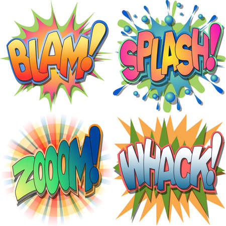A Selection of Comic Book Exclamations and Action Word Illustrations,Blam, Splash,Zoom, Whack